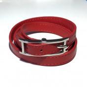Treradigt rött armband
