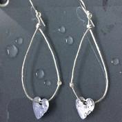 Henna - Silverörhängen med svartoxiderat hjärta