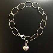 Elly - Bulligt hjärta, silverarmband