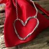 Miranda - Rustikt rejält hjärthalsband i silver