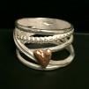 Kärlek - Underbar silverring med guldpläterat hjärta