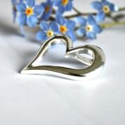 Snett, stilrent silverhjärta - Hänge