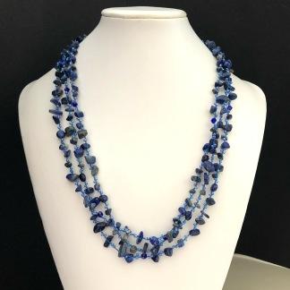 Midnight blue - Långt halsband med Lapis och pärlor