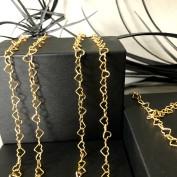 Guldförgyllda hjärtan - Halsband 70 cm