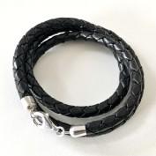 5 mm, tredubbelt flätat armband med silverdelar
