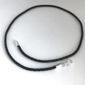 3 mm flätat svart läderhalsband med silverdelar