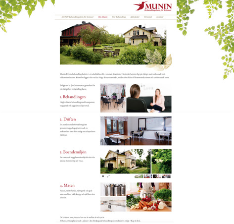 Munin behandlingshem hemsida