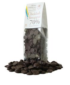 Pralinhuset - Chokladknappar - 70% Kakao - Mörk Choklad