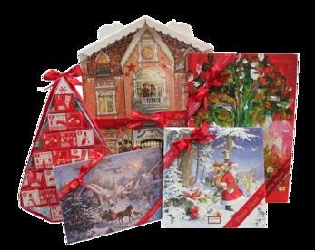 Julkalendrar fyllda med choklad, praliner och tryfflar