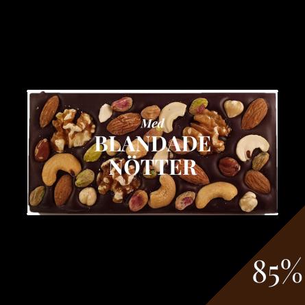 Pralinhuset - 85% Kakao - Blandade Nötter - Mörk Choklad