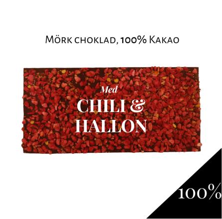 Pralinhuset - 100% Kakao - Chili & Hallon -