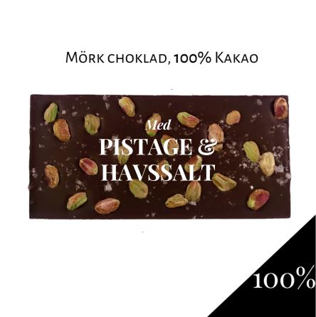 Pralinhuset - 100% Kakao - Pistage & Havssalt -