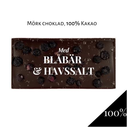 Pralinhuset - 100% Kakao - Blåbär & Havssalt -