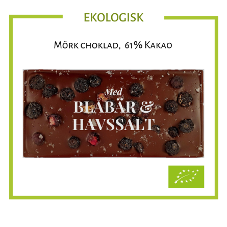 Pralinhuset - Ekologisk 61% Kakao - Blåbär & Havssalt -