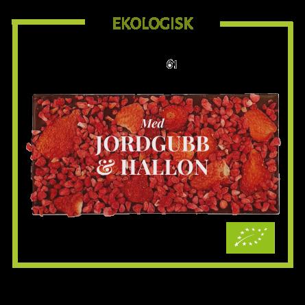 Pralinhuset - Ekologisk 61% Kakao - Jordgubb & Hallon -