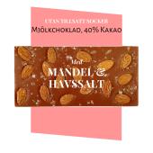 Pralinhuset - 40% Kakao - Mandel & Havssalt - Utan Tillsatt Socker