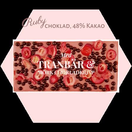 Pralinhuset - Ruby choklad - Tranbär och Chokladkrisp - Ruby Choklad