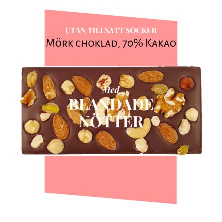 Pralinhuset - 70% Kakao - Blandade Nötter - Utan Tillsatt Socker -