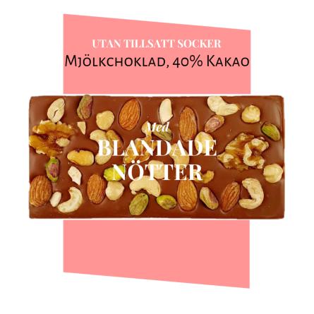 Pralinhusets - 40% Kakao - Blandade Nötter - Utan Tillsatt Socker -