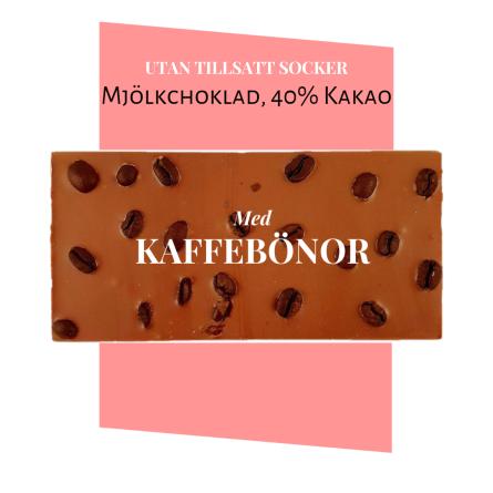 Pralinhuset - 40% Mjölkchoklad - Kaffebönor - Utan Tillsatt Socker -