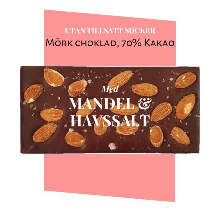 Pralinhuset - 70% Kakao - Mandel & Havssalt - Utan Tillsatt Socker -