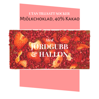 Pralinhuset - 40% Kakao - Jordgubb & Hallon - Utan Tillsatt Socker -