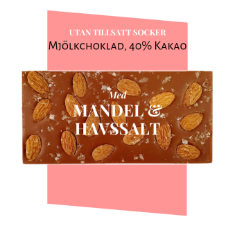 Pralinhuset - 40% Kakao - Mandel & Havssalt - Utan Tillsatt Socker -