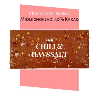 Pralinhuset - 40% Kakao - Chili & Havssalt - Utan Tillsatt Socker -
