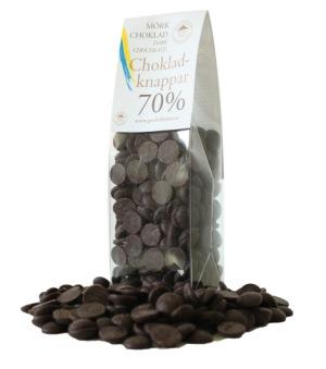 Pralinhuset - Chokladknappar - 70% Kakao - 150g - Mörk Choklad