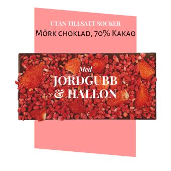 Pralinhuset - 70% Mörk choklad - Jordgubb & Hallon - Utan Tillsatt Socker -