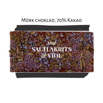 Pralinhuset - 70% Kakao - Saltlakrits & Viol - Mörk Choklad