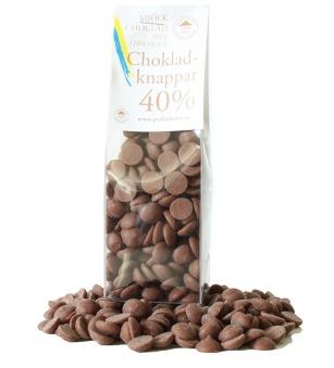 Pralinhuset - Chokladknappar - 40% Kakao - 150g - Ljus Choklad