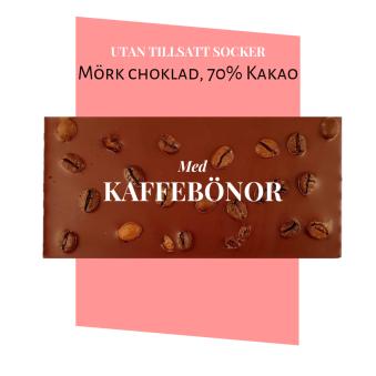 Pralinhuset - 70% Mörk choklad - Kaffebönor - Utan Tillsatt Socker -
