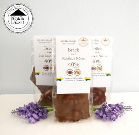 Pralinhuset - 40% Mjölkchoklad - 3 Påsar Bräck med Blandade Nötter -