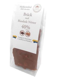 Pralinhuset - 40% Mjölkchoklad - Bräck med Blandade Nötter -
