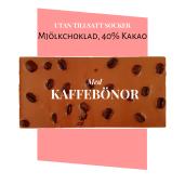 Pralinhuset - 40% Mjölkchoklad - Kaffebönor - Utan Tillsatt Socker