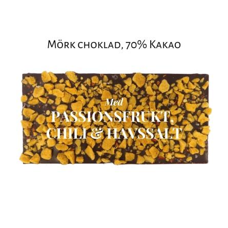 Pralinhuset - 70% Kakao - Passionsfrukt, Chili & Havssalt - Mörk Choklad