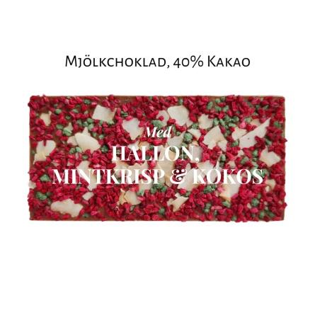 Pralinhuset - 40% Mjölkchoklad - Hallon, Mintkrisp & Kokos -