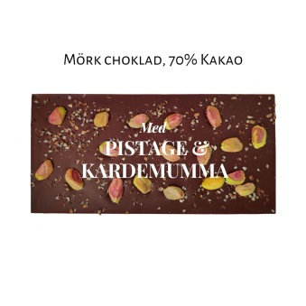 Pralinhuset - 70% Kakao - Pistage & Kardemumma - Mörk Choklad