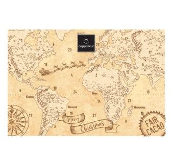 Adventskalender - Världskarta - Chokladbitar -