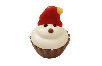 Julpralin - Santa Cup Cake - Salt Karamell & Vit Chokladkräm -