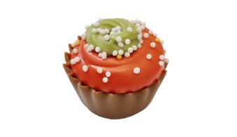 Julpralin - Jul Cup Cake - Hallonganache & hallonbitar -