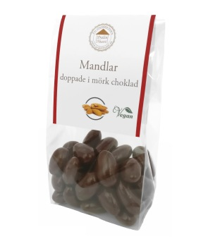 Pralinhuset - Mandlar Doppade -Utan Tillsatt Socker i Mörk Choklad -