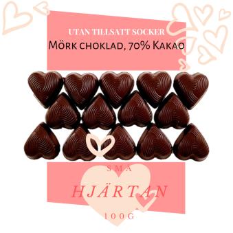 Pralinhuset - Small Hearts - 70% Kakao - Utan tillsatt socker -