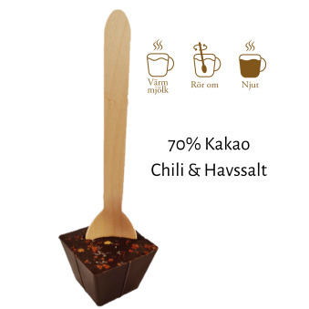 Pralinhuset - Drickchoklad - 70% Kakao - Chili & Havssalt -