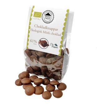 Pralinhuset - Chokladknappar - 61% Kakao Ekologisk - 150g -