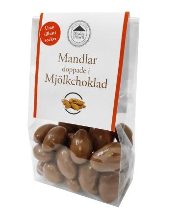 Pralinhuset - Mandlar Doppade i Ljus Choklad - Utan Tillsatt Socker -