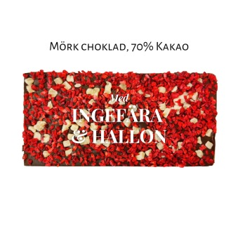 Pralinhuset - 70% Kakao - Ingefära & Hallon -