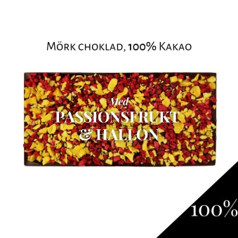 Pralinhuset - 100% Kakao - Passionsfrukt & Hallon -