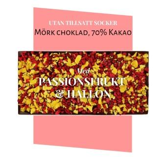 Pralinhuset - 70% Kakao - Passionsfrukt & Hallon -